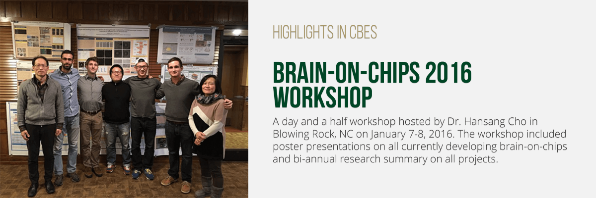 A day and a half workshop hosted by Dr. Hansang Cho in Blowing Rock, NC on January 7-8, 2016. The workshop included poster presentations on all currently developing brain-on-chips and bi-annual research summary on all projects.