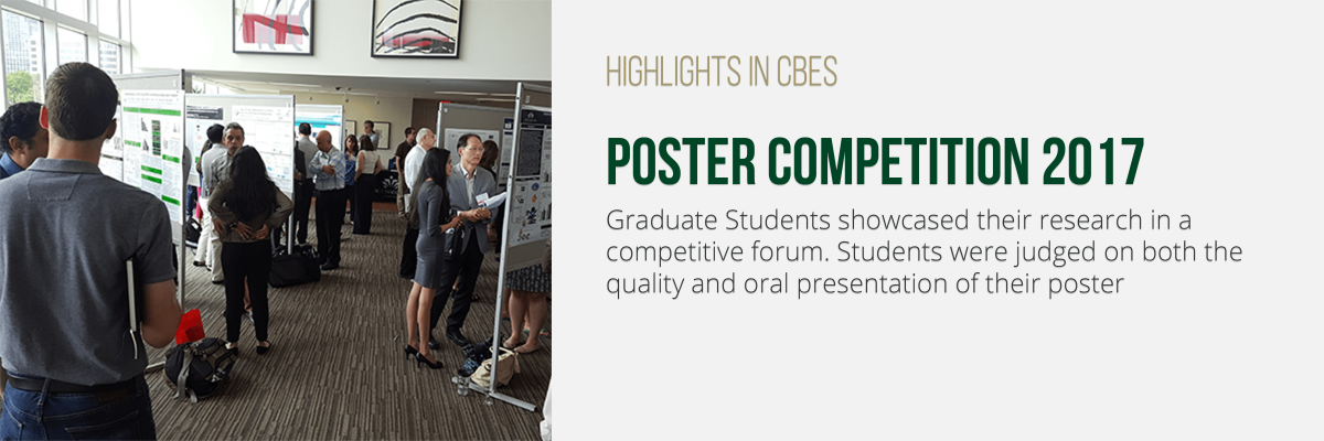 Graduate Students showcased their research in a competitive forum. Students were judged on both the quality and oral presentation of their poster